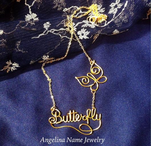 Кулоны, подвески ручной работы. Ярмарка Мастеров - ручная работа. Купить Именная подвеска с бабочкой Butterfly Name Necklace. Handmade.