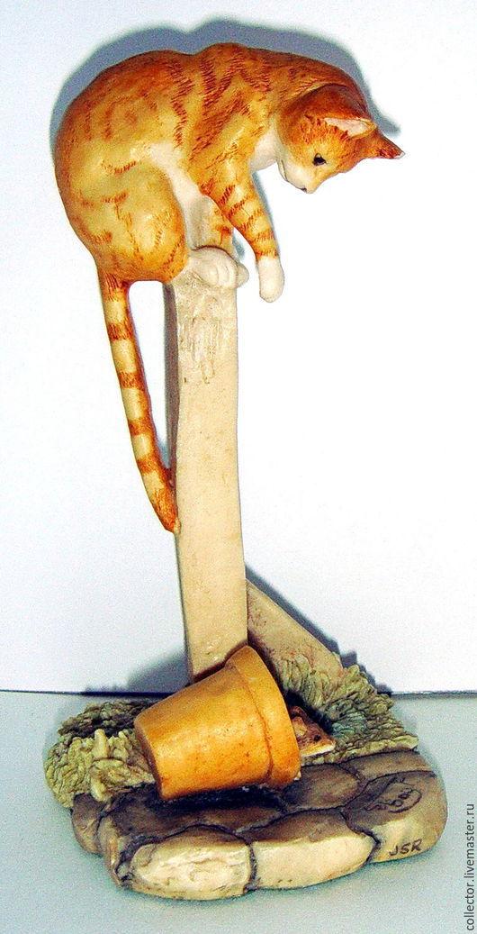 """Винтажные предметы интерьера. Ярмарка Мастеров - ручная работа. Купить Коллекционная статуэтка """"Кошка и мышка"""". Handmade. Комбинированный, мышька"""