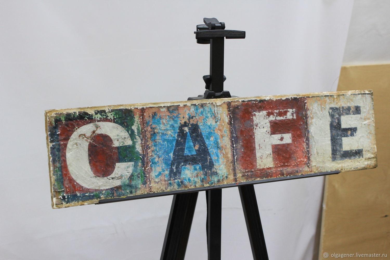 Вывеска, табличка, панно из толстого дерева_CAFE_Стиль ЛОФТ W0007, Картины, Москва,  Фото №1