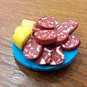Мягкие игрушки ручной работы. Ярмарка Мастеров - ручная работа Миниатюра тарелка с нарезкой. Handmade.