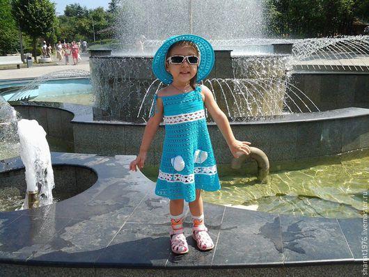 """Одежда для девочек, ручной работы. Ярмарка Мастеров - ручная работа. Купить платье детское """"Незабудка"""". Handmade. Хлопок, лён натуральный"""