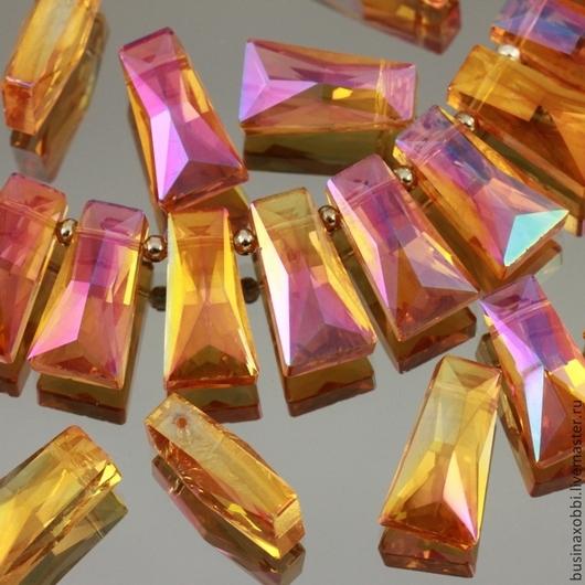 Бусины стеклянные граненые трапециевидной формы со специальной обработкой cristallized для сборки украшений