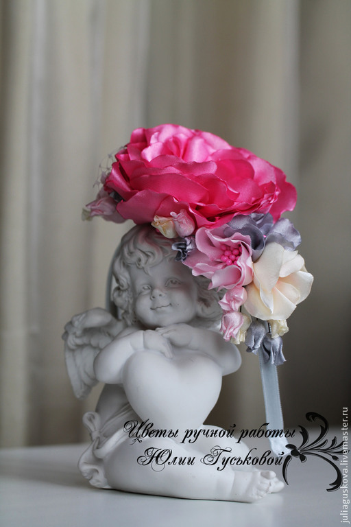 Диадемы, обручи ручной работы. Ярмарка Мастеров - ручная работа. Купить Ободок  с цветами. Handmade. Розовый, украшение с цветами, цветы