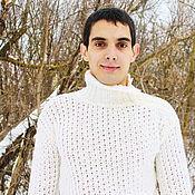 "Мужская одежда handmade. Livemaster - original item Мужской  свитер   ""Белый снег"". Handmade."