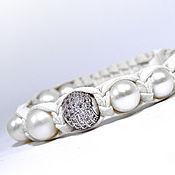 Украшения handmade. Livemaster - original item Shamballa bracelet leather with freshwater pearls. Handmade.