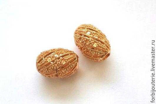 072 Бусины `Бочонок` из латуни с позолотой. Высококачественное покрытие gold filled. Для украшений ручной работы. Южная Корея.