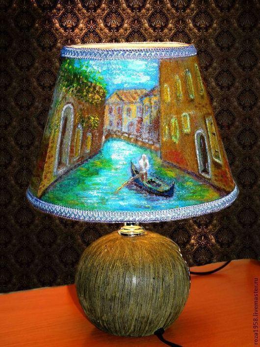 Интерьерная вещь,светильник ручной работы,ночник для спальни,мотивы Венеции,светильник в подарок, Венеция,светильник из шерсти,валяный абажур.