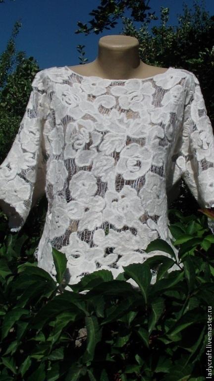 Кофты и свитера ручной работы. Ярмарка Мастеров - ручная работа. Купить Блуза в технике Шерстяное Ришелье. Handmade. Белый