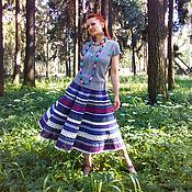Одежда ручной работы. Ярмарка Мастеров - ручная работа Юбка Кружевель синяя. Handmade.