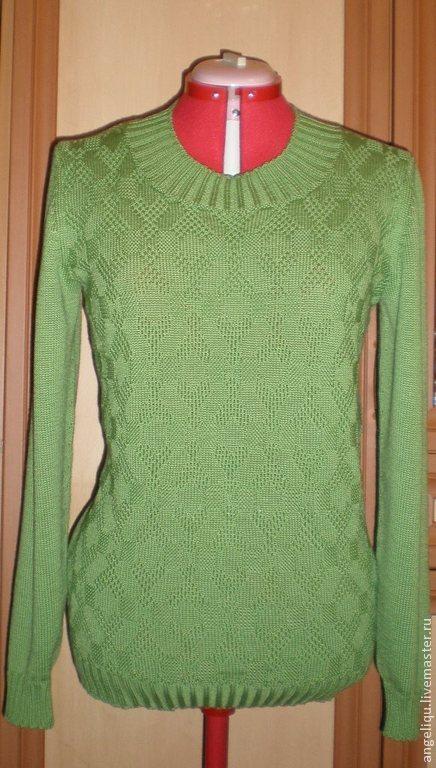 Кофты и свитера ручной работы. Ярмарка Мастеров - ручная работа. Купить Джемпер Зеленое яблоко. Handmade. Зеленый, сердечки