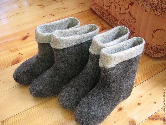 Обувь ручной работы. Ярмарка Мастеров - ручная работа. Купить полуваленки комбинированные. Handmade. Серый, валенки для улицы
