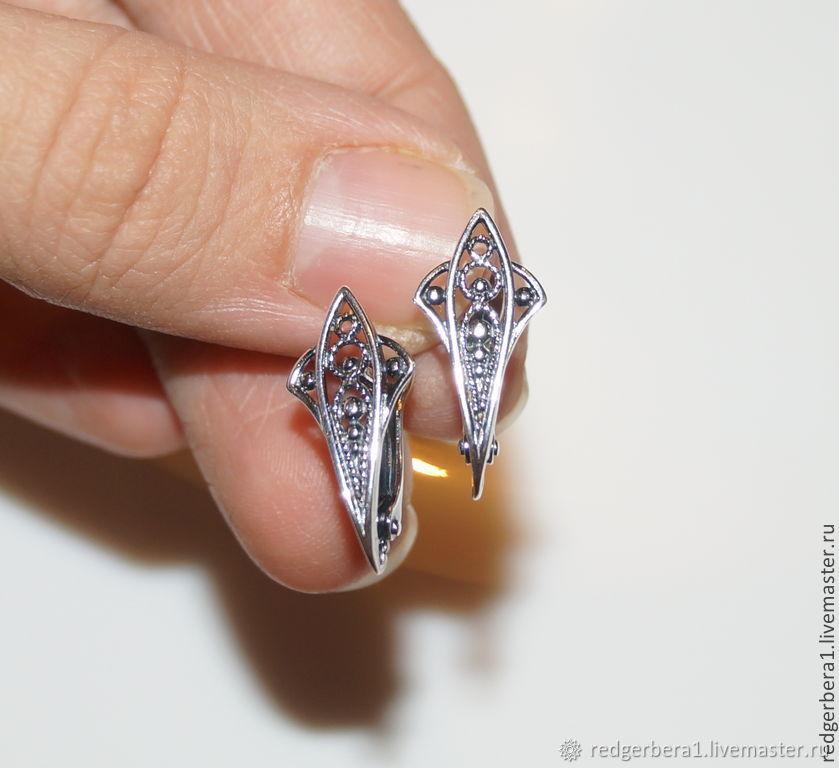 Earrings openwork filigree - silver 925, Schwenzy, Kostroma,  Фото №1