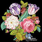 """Материалы для творчества ручной работы. Ярмарка Мастеров - ручная работа Схема вышивки """"Букет с двумя тюльпанами"""". Handmade."""