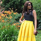 Одежда ручной работы. Ярмарка Мастеров - ручная работа Желтая юбка Миди. Handmade.