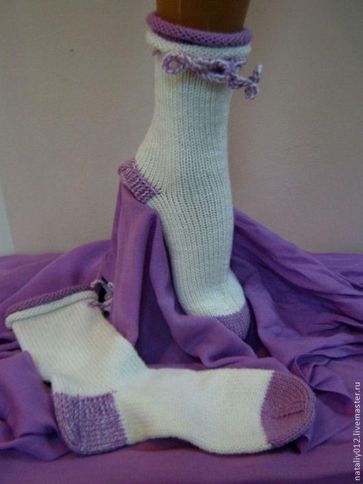 """Носки, Чулки ручной работы. Ярмарка Мастеров - ручная работа. Купить Носочки вязаные """"white-lilac"""". Handmade. Белый, ангора"""