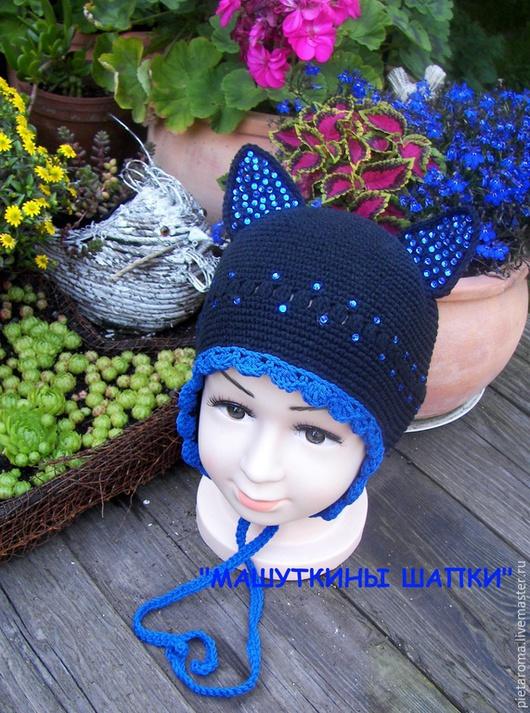 """Шапки ручной работы. Ярмарка Мастеров - ручная работа. Купить Шапка""""Блестящие ушки""""№1. Handmade. Разноцветный, зверошапка, шапка для девочки"""