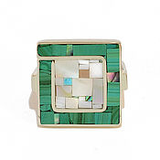 Rings handmade. Livemaster - original item Ring Square. Size 17. Ring with malachite and mother of pearl. Handmade.