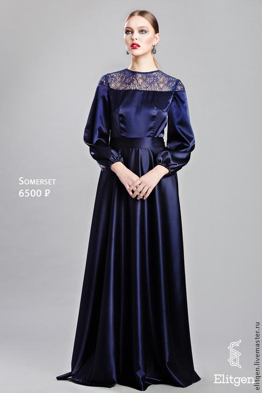 Платья ручной работы. Ярмарка Мастеров - ручная работа. Купить Вечернее платье в пол с длинным рукавом Скидка 20%. Handmade.