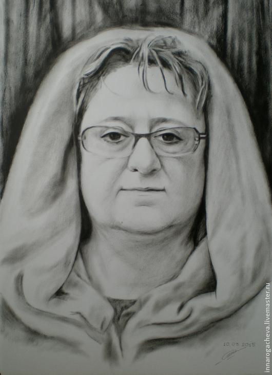 """Люди, ручной работы. Ярмарка Мастеров - ручная работа. Купить Портрет по фотографии в технике """"сухая кисть"""". Handmade. Чёрно-белый"""