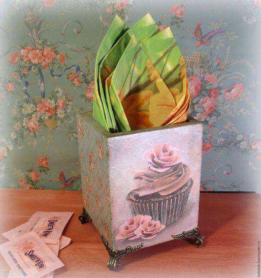 """Кухня ручной работы. Ярмарка Мастеров - ручная работа. Купить Подставка для салфеток """"Капкейки"""". Handmade. Бирюзовый, подставка для карандашей"""