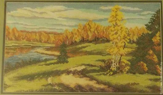 """Пейзаж ручной работы. Ярмарка Мастеров - ручная работа. Купить Вышитая картина """"Осенний пейзаж"""". Handmade. Вышивка крестом"""