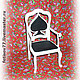 """Кукольный дом ручной работы. Ярмарка Мастеров - ручная работа. Купить Кукольное кресло """"Пиковая дама"""". Handmade. Кукольная миниатюра"""