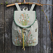 """Рюкзаки ручной работы. Ярмарка Мастеров - ручная работа Льняной рюкзак """"Green grass"""". Handmade."""