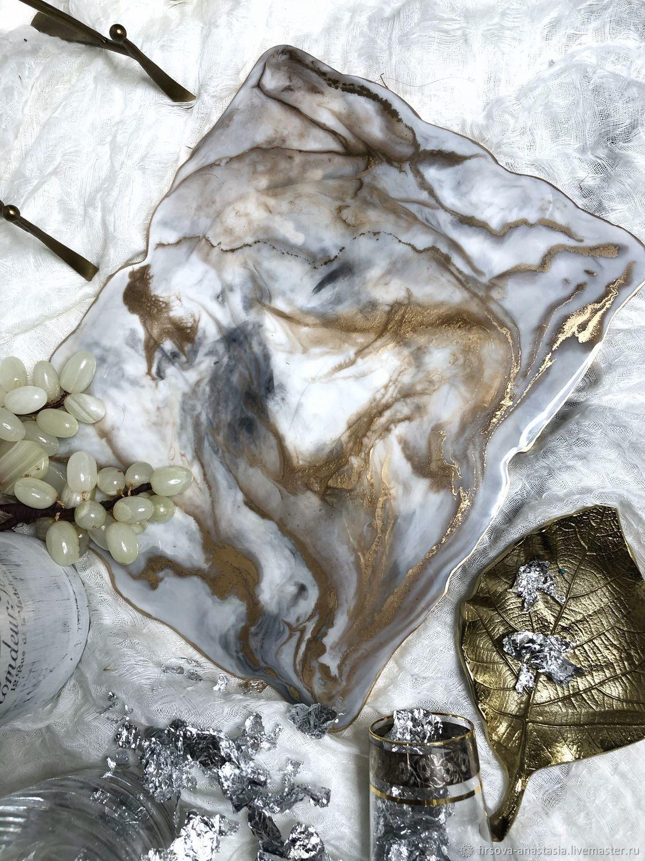 Сервировочная доска мраморный камень из эпоксидной смолы – заказать на Ярмарке Мастеров – MBBXCBY   Элементы интерьера, Санкт-Петербург