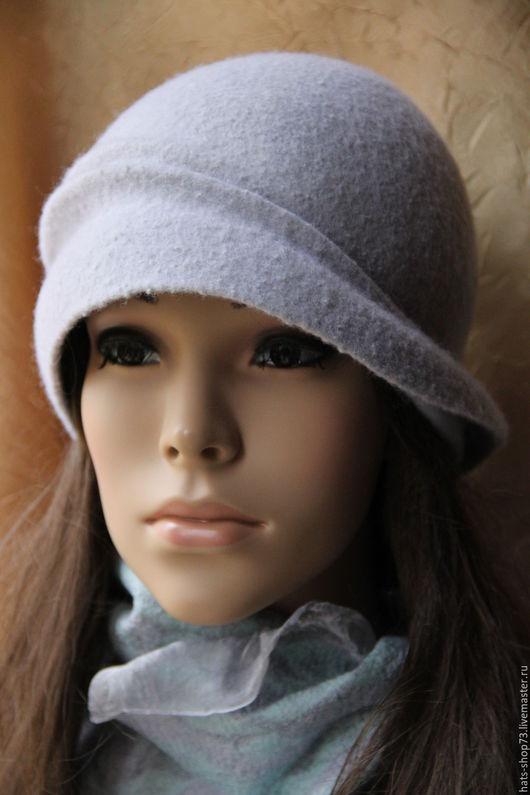 Шляпы ручной работы. Ярмарка Мастеров - ручная работа. Купить Валяная шляпка Серебристый клош. Handmade. Серый, женская шляпка