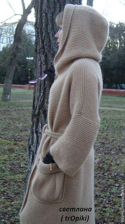"""Верхняя одежда ручной работы. Ярмарка Мастеров - ручная работа. Купить Пальто вязаное """" Любимое"""" с капюшоном.. Handmade. Бежевый"""