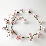 Свадебный салон handmade. Livemaster - original item Flexible twig in her hair with pink flowers of almonds.. Handmade.