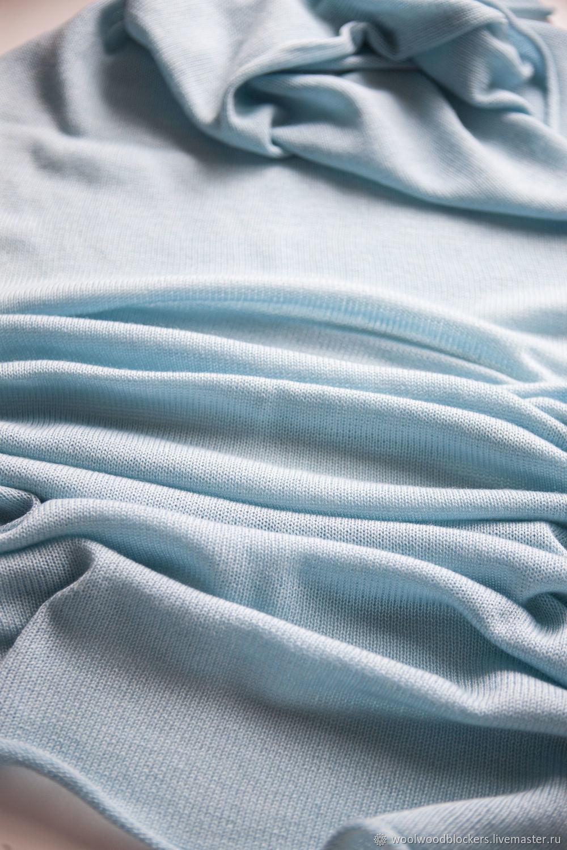 Demi-season stole made of Merino wool. pale blue, Wraps, Tolyatti,  Фото №1