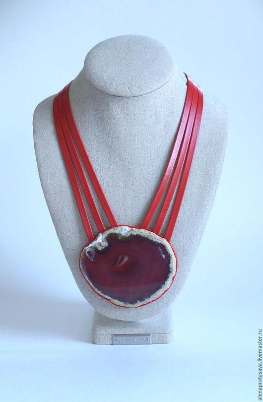 Комплекты украшений ручной работы. Ярмарка Мастеров - ручная работа. Купить Колье из кожи с Агатом. Коллекция BENUA. Handmade.