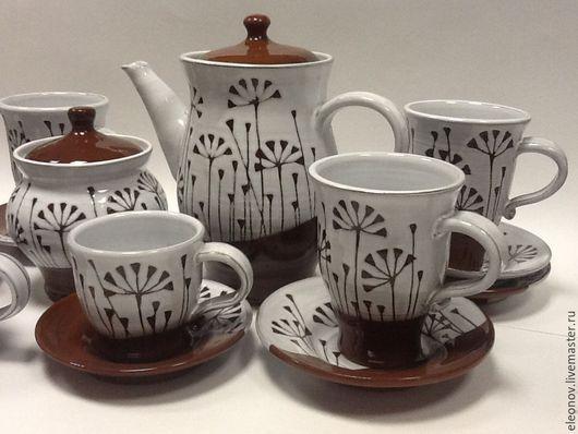 Сервизы, чайные пары ручной работы. Ярмарка Мастеров - ручная работа. Купить Чайный сервиз с травкой. Handmade. Разноцветный