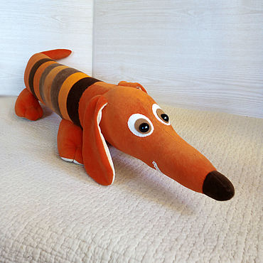 Для дома и интерьера ручной работы. Ярмарка Мастеров - ручная работа Такса рыжая игрушка-подушка из велюра.. Handmade.