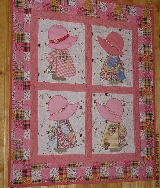 """Детская ручной работы. Ярмарка Мастеров - ручная работа. Купить Текстильное панно-коврик для детской """"Девочки"""". Handmade. Розовый"""