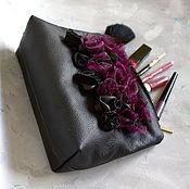 """Сумки и аксессуары handmade. Livemaster - original item Leather bag """"Black and purple"""". Handmade."""