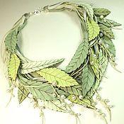 Украшения handmade. Livemaster - original item The Muse green tea. choker of leather and pearls. Handmade.