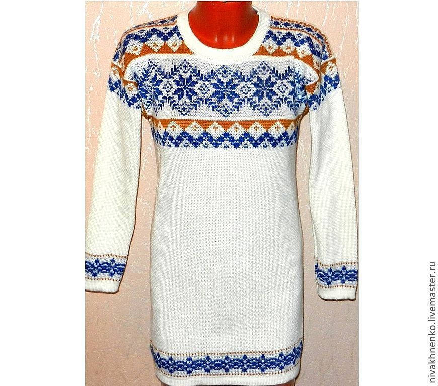 Knitted tunic with a Norwegian ornament snowflake, Sweaters, Moscow,  Фото №1