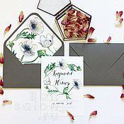 """Свадебный салон ручной работы. Ярмарка Мастеров - ручная работа Приглашение с конвертом """"Анемоны"""" ПР-105. Handmade."""
