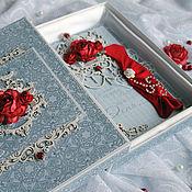 Открытки ручной работы. Ярмарка Мастеров - ручная работа Открытка любимой в коробке для девушки синий красный. Handmade.