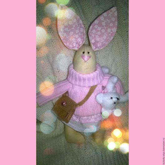 Куклы Тильды ручной работы. Ярмарка Мастеров - ручная работа. Купить зайцы тильда. Handmade. Бледно-розовый, интерьерная игрушка