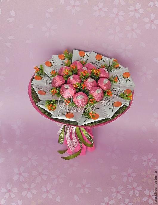 Персональные подарки ручной работы. Ярмарка Мастеров - ручная работа. Купить Букет из конфет и чая.. Handmade. Букет из конфет