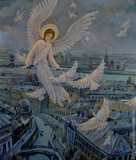 Город ручной работы. Ярмарка Мастеров - ручная работа. Купить Ангел над городом. Handmade. Ангел, Голуби, небо, город