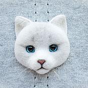 Украшения ручной работы. Ярмарка Мастеров - ручная работа Брошь валяная Белый кот. Handmade.
