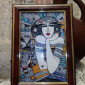Для дома и интерьера handmade. Livemaster - original item The picture stained glass gift Girl with a cat. Handmade.