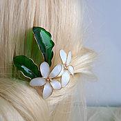 Украшения handmade. Livemaster - original item Hairpin white pansies. Handmade.