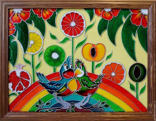 Животные ручной работы. Ярмарка Мастеров - ручная работа. Купить Картина витражными красками Влюблённые попугайчики. Handmade. Комбинированный