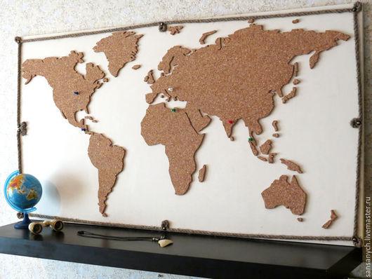"""Элементы интерьера ручной работы. Ярмарка Мастеров - ручная работа. Купить Панель """"Карта мира"""" из пробки. Handmade. Белый, детская"""
