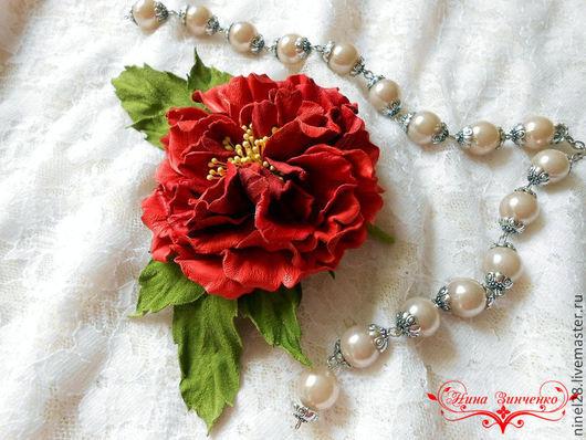 """Броши ручной работы. Ярмарка Мастеров - ручная работа. Купить Роза из кожи """"Королева сада"""". Handmade. Алый, кожаный цветок"""